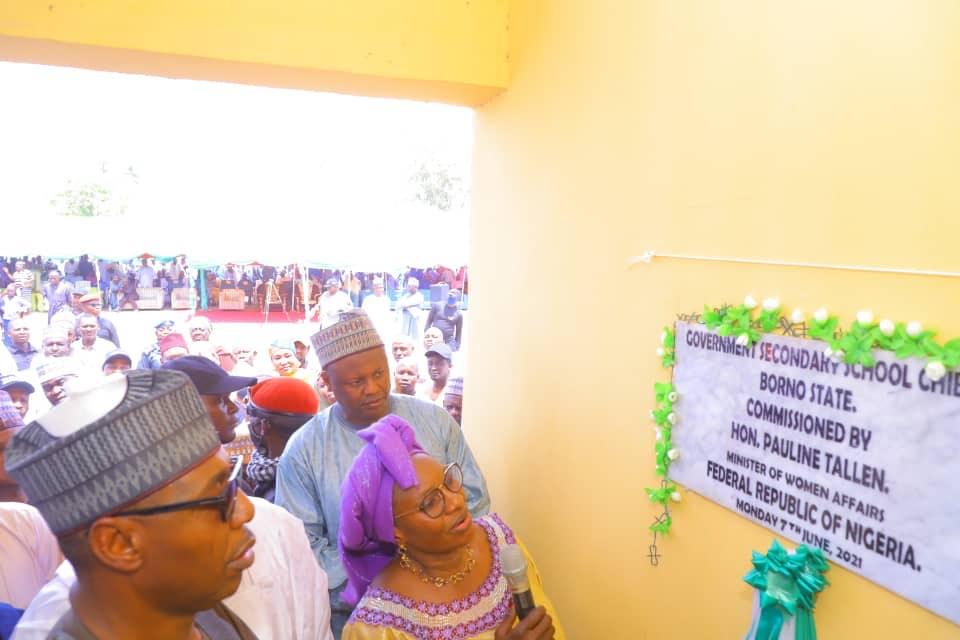On Zulum's Invitation, Women Affairs Minister Commissions Remodeled Chibok School where Girls were Kidnapped in 2014