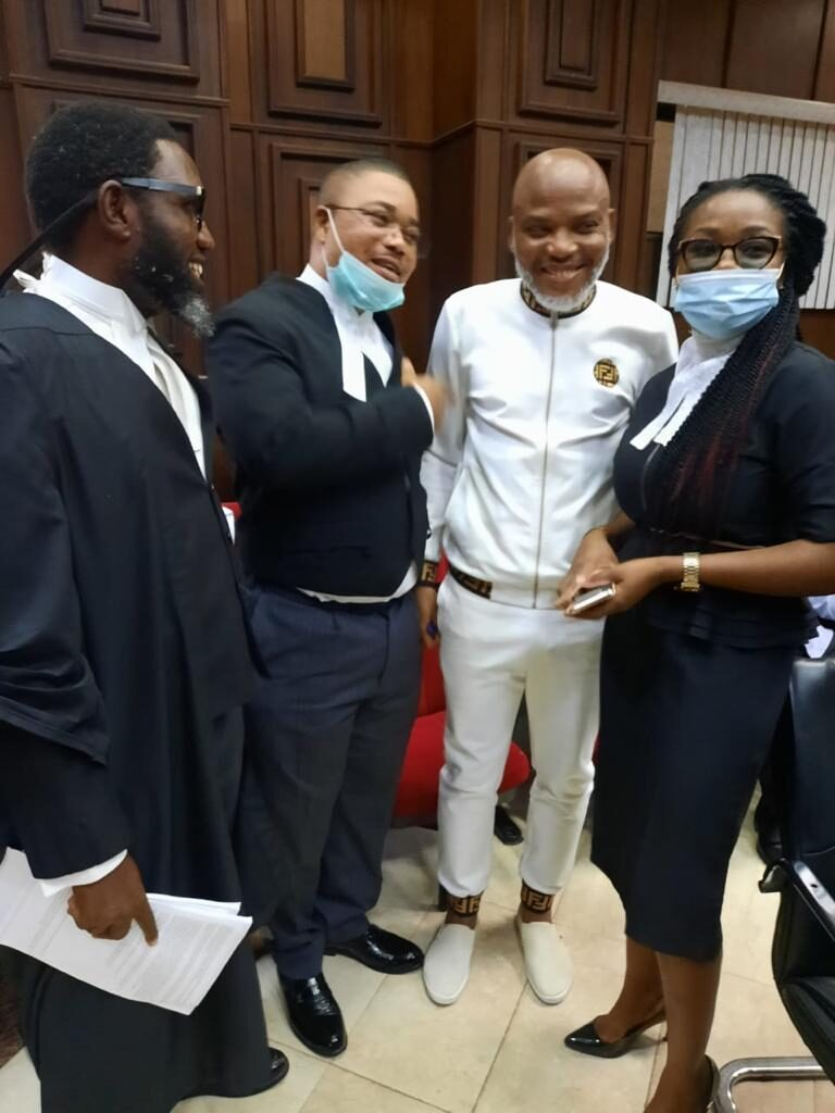 Nnamdi Kanu Brought To Court For Trial Amid Heavy Security
